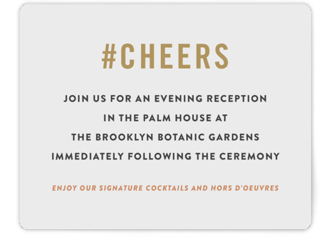 This is a bold and typographic, classic and formal, modern, offbeat, brown Reception Cards by Jennifer Lew called Open Bar with Standard printing on Signature in Card Flat Card format. A very fun and modern social media worthy wedding invitation. ...