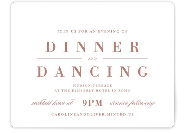 This is a classic and formal, pink Reception Cards by Lauren Chism called At Last with Standard printing on Signature in Card Flat Card format. This design uses timeless type and makes room for traditional wording. Inspired by the more ...