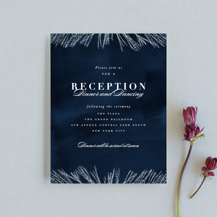 """""""Frosty chic"""" - Reception Cards in Peacock by Creo Study."""