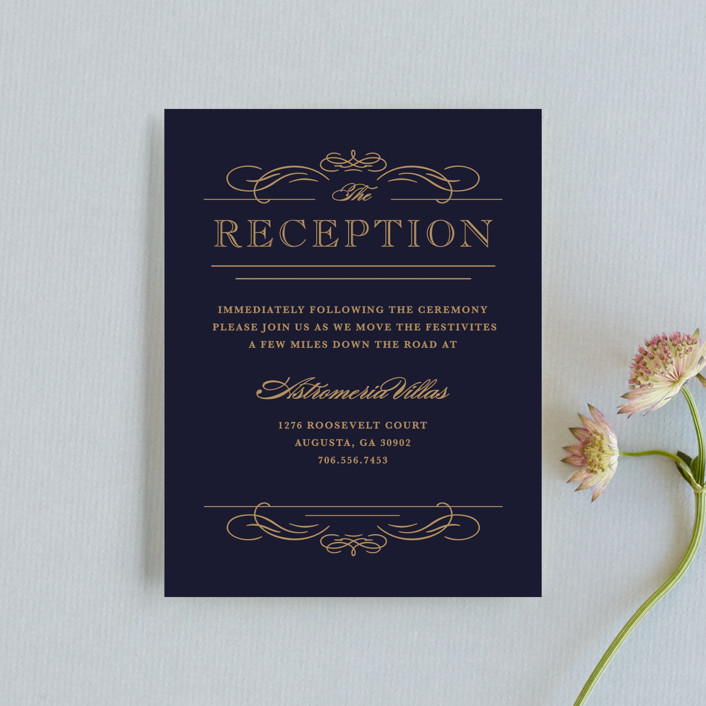 """Elegant Flourishes"" - Vintage, Elegant Reception Cards in Navy by Kristen Smith."