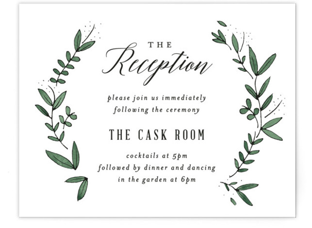 This is a landscape botanical, green Reception Cards by Kelly Schmidt called Floral Wreath with Standard printing on Signature in Card Flat Card format. A botanical border frames calligraphic type in this rustic wedding invitation