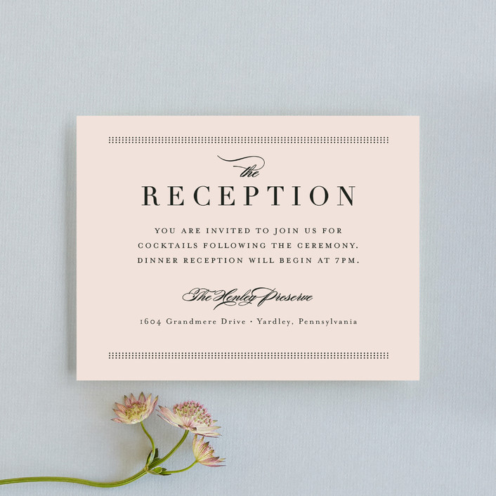 """Formal ampersand"" - Preppy Reception Cards in Blush by Jennifer Wick."