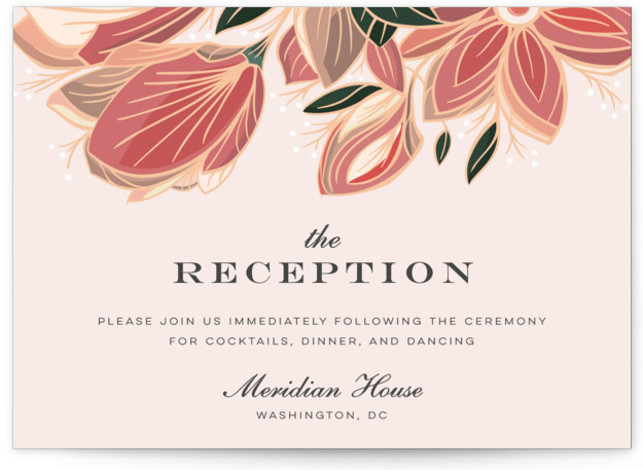 This is a botanical, pink Reception Cards by Melanie Kosuge called Sawyer with Standard printing on Signature in Card Flat Card format. An elegant wedding invitation featuring original, hand drawn floral illustration and clean type.