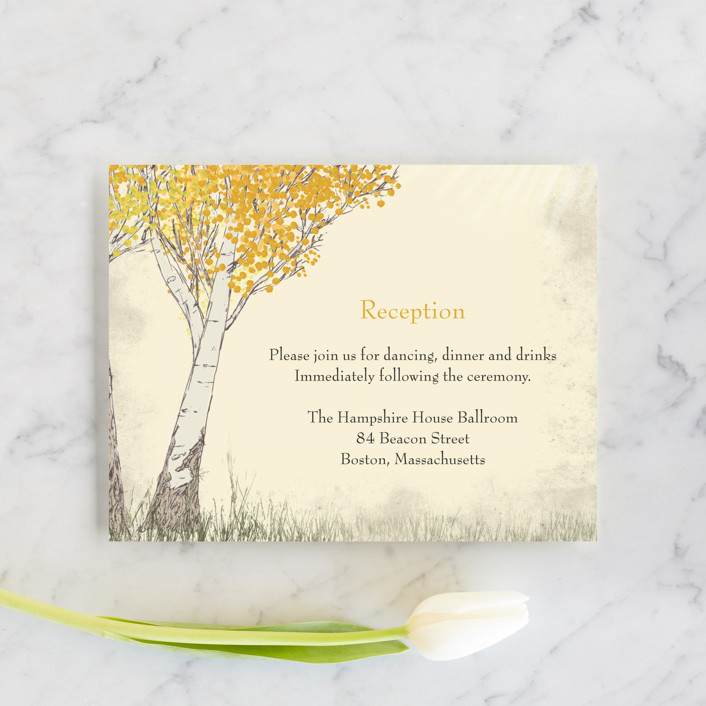 """Fall Tranquility"" - Rustic Reception Cards in Sand by Jenifer Martino."