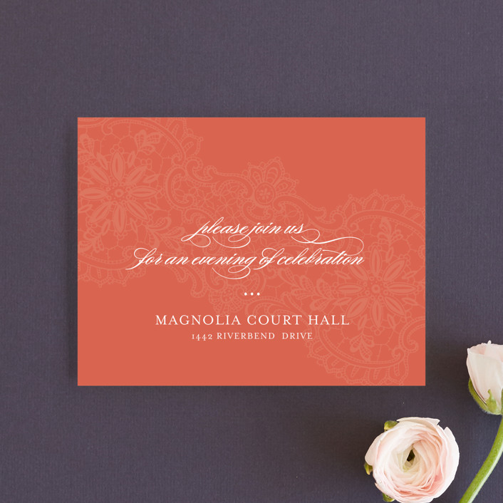 """White Lace"" - Vintage, Elegant Reception Cards in Coral Rose by Lauren Chism."