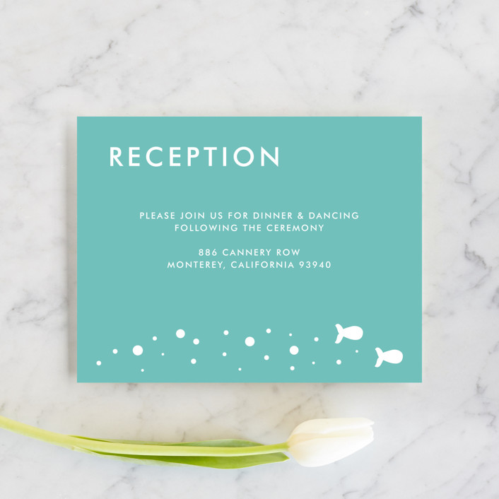 """""""Only Fish for Me"""" - Whimsical & Funny Reception Cards in Tropical Sea by Ling Wang."""
