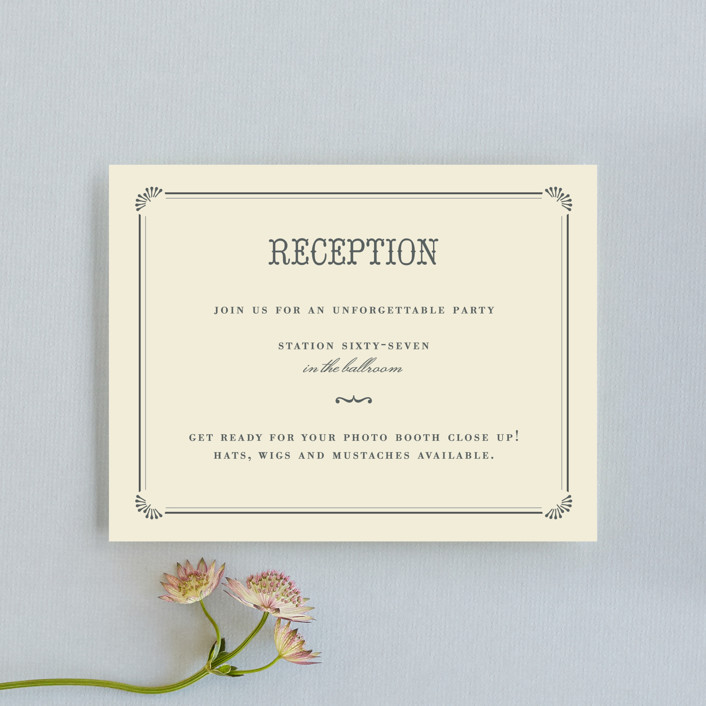 """""""Stache + Kiss"""" - Whimsical & Funny, Vintage Reception Cards in Creme by Penelope Poppy."""