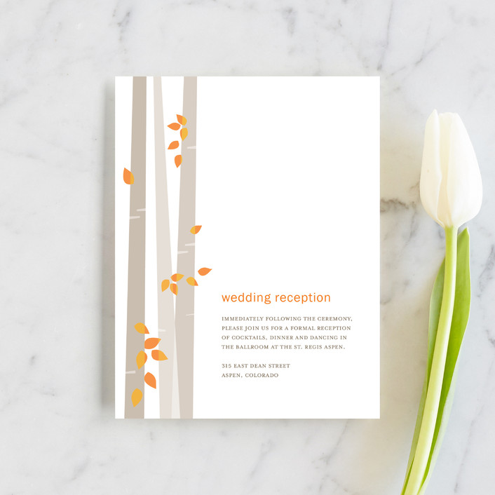 """Into the Woods"" - Reception Cards in Orange by Robin Ott."