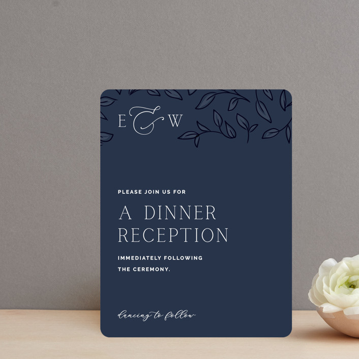 """""""Forever Intertwined"""" - Reception Cards in Navy by Lindsay Stetson Thompson."""