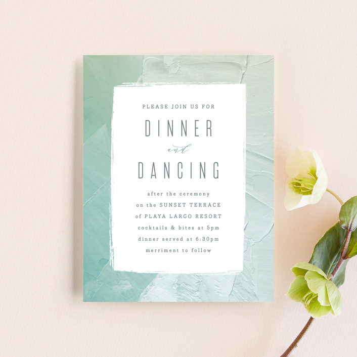 """Painted Sea"" - Modern Reception Cards in Seafoam by Hooray Creative."