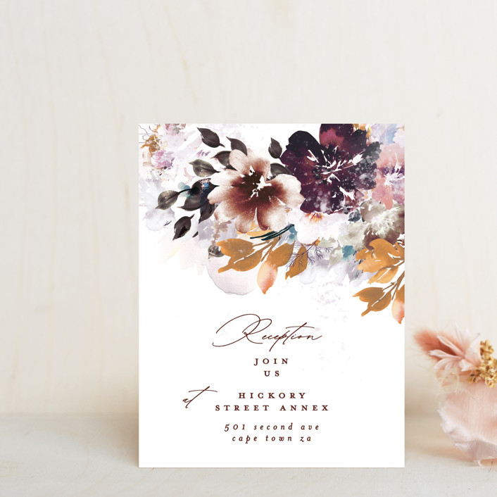 """Lush Bouquet"" - Reception Cards in Autumn by Phrosne Ras."