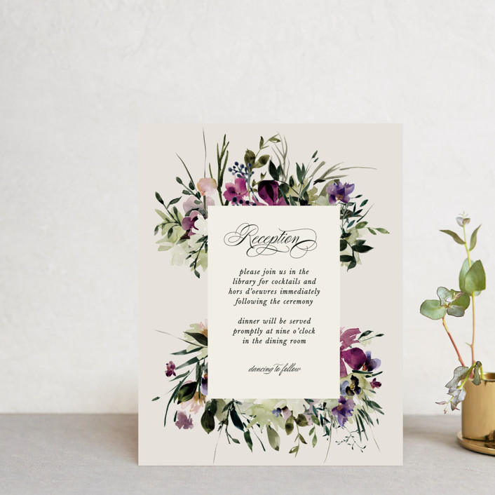 """Floral Love"" - Reception Cards in Lilac by Lori Wemple."