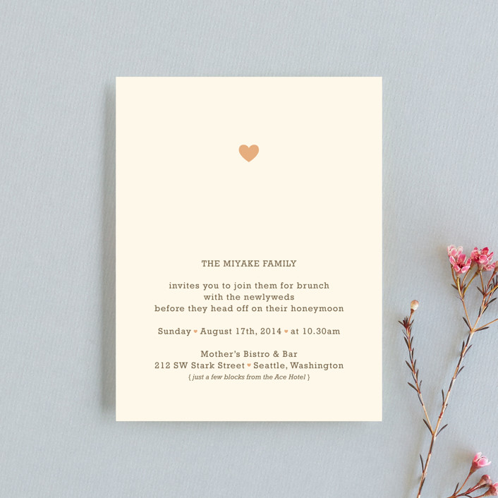 """""""Love Struck"""" - Whimsical & Funny Reception Cards in Pale Salmon by The Social Type."""