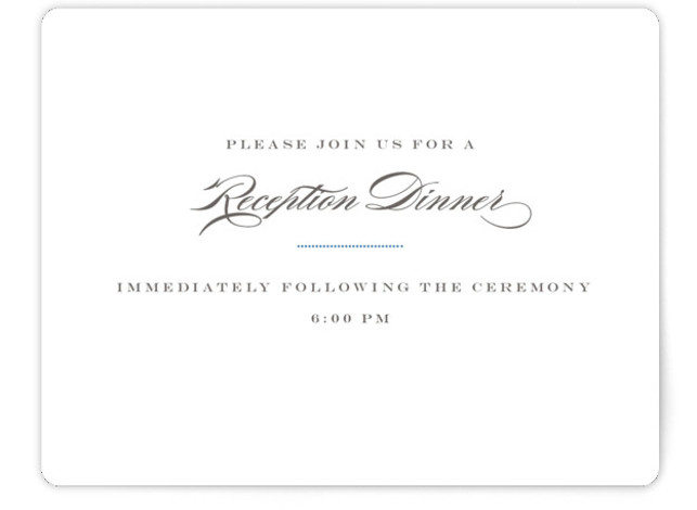 This is a landscape classic and formal, classical, elegant, formal, monogrammed, simple and minimalist, blue, grey Reception Cards by danielleb called Charming Go Lightly with Standard printing on Signature in Card Flat Card format.