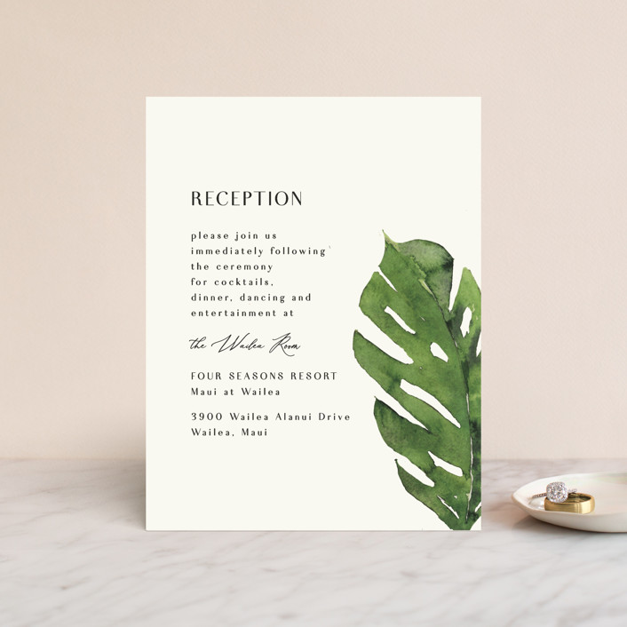 """Tropical Vows"" - Reception Cards in Jade by Chris Griffith."