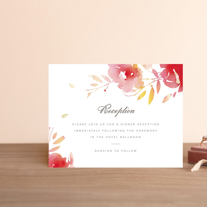 """""""Stately Florals"""" - Reception Cards in Poppy by Lori Wemple."""