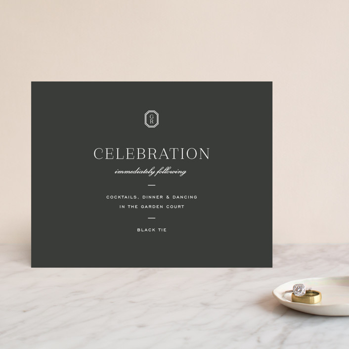 """""""Upper East"""" - Reception Cards in Charcoal by Toast & Laurel."""