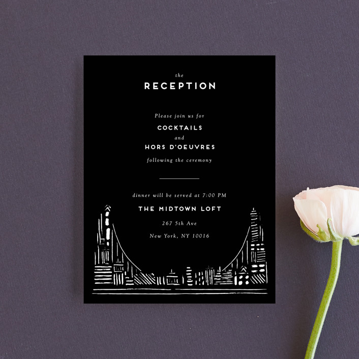 """""""Love In The City"""" - Modern Reception Cards in Pearl by Shiny Penny Studio."""