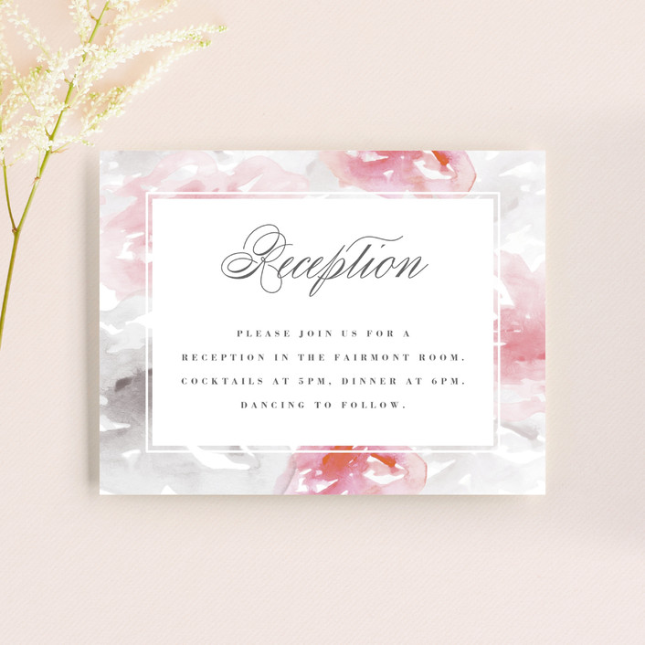 """Flora Romance"" - Reception Cards in Rose by Melanie Severin."