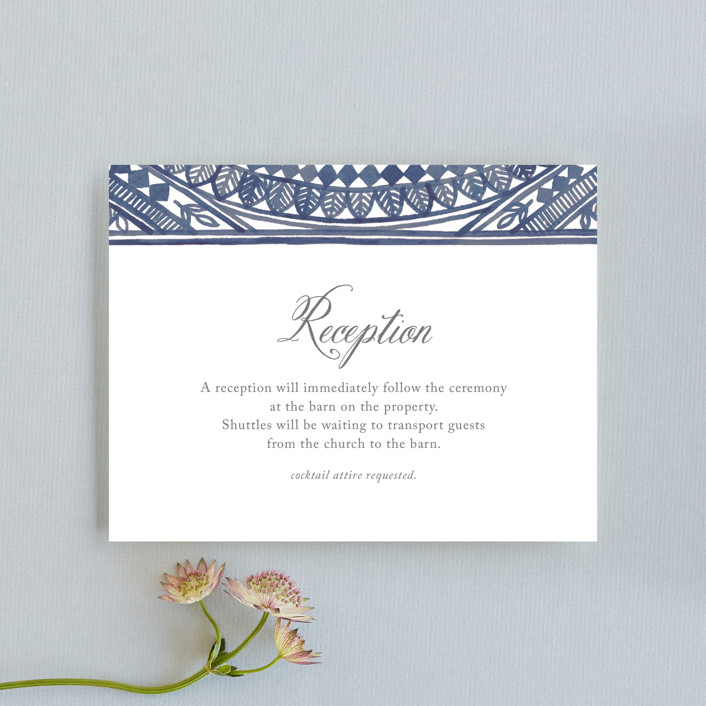 """""""Ornate Watercolor Frame"""" - Bohemian Reception Cards in Lapis by Katharine Watson."""
