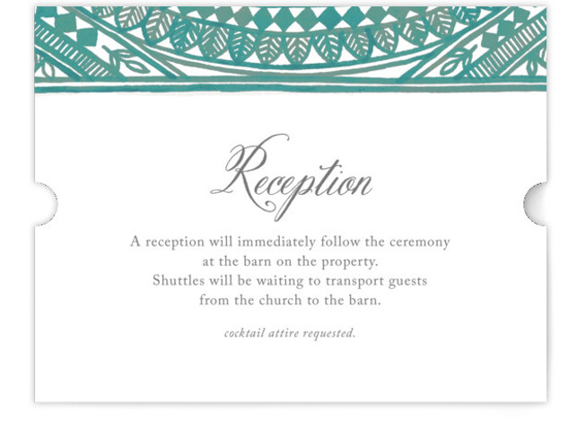 This is a landscape bohemian, blue, green Reception Cards by Katharine Watson called Ornate Watercolor Frame with Standard printing on Signature in Card Flat Card format. This design uses a hand painted border to create an intricate, eye catching design ...