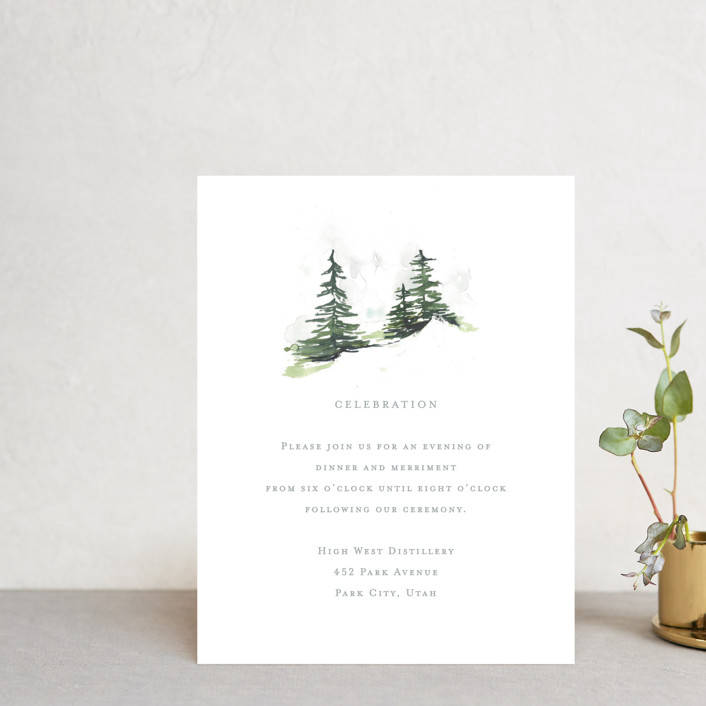 """""""On the Slopes"""" - Rustic Reception Cards in Fog by Mere Paper."""
