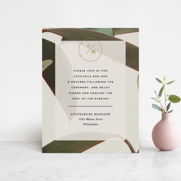 """Powder Room Florals"" - Reception Cards in Cream by Ariel Rutland."