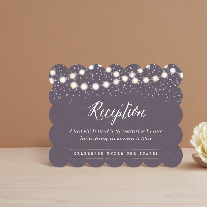 """Garden Lights"" - Rustic Reception Cards in Plum by Hooray Creative."