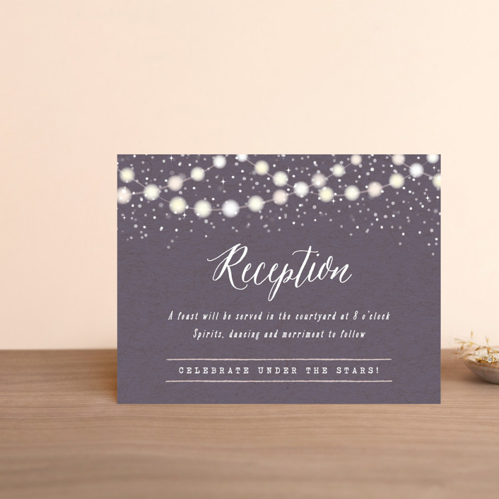 """Garden Lights"" - Rustic Reception Cards in Plum by Hooray Creative."