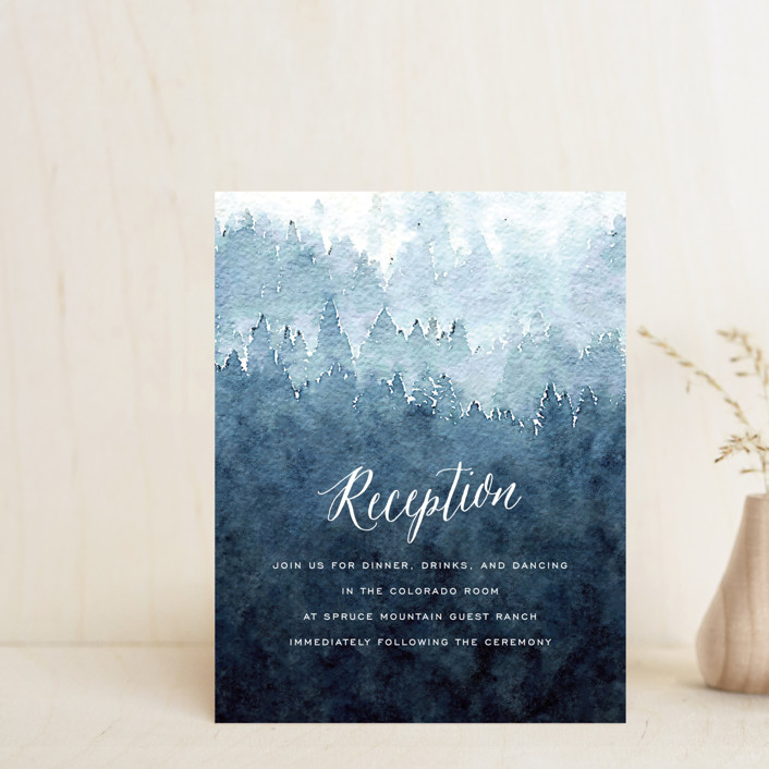 """""""Mountain Retreat"""" - Rustic Reception Cards in Evening Sky by Design Lotus."""