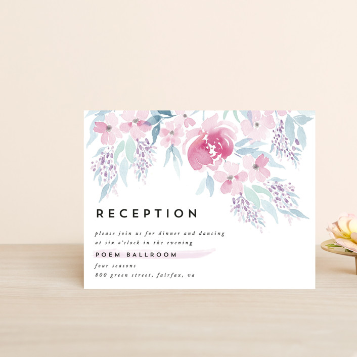 """Poetic Watercolor Flowers"" - Reception Cards in Petal by Qing Ji."