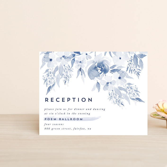 """Poetic Watercolor Flowers"" - Reception Cards in Petal by Qing Ji."