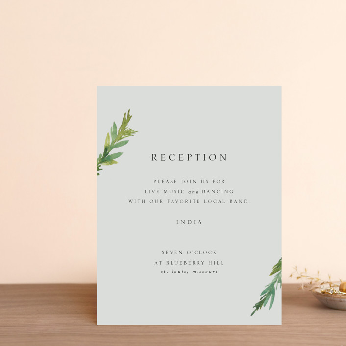 """""""Simple Pine Branches"""" - Rustic, Simple Reception Cards in Vanilla by Mere Paper."""