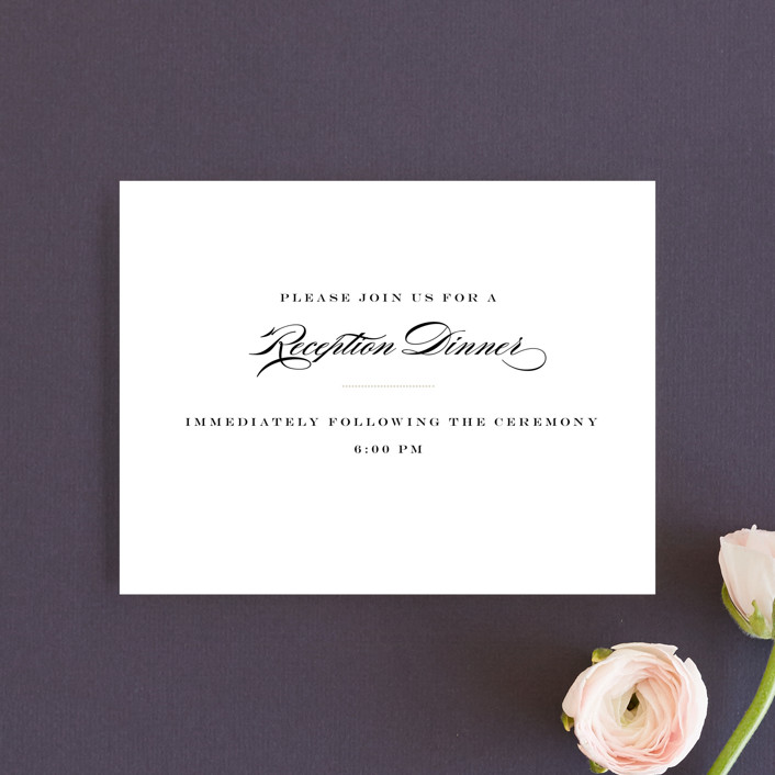 """Charming Go Lightly"" - Reception Cards in Crisp Black by danielleb."