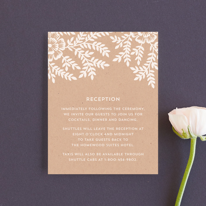 """""""Leaves and Kraft"""" - Rustic, Floral & Botanical Reception Cards in Kraft by Katharine Watson."""