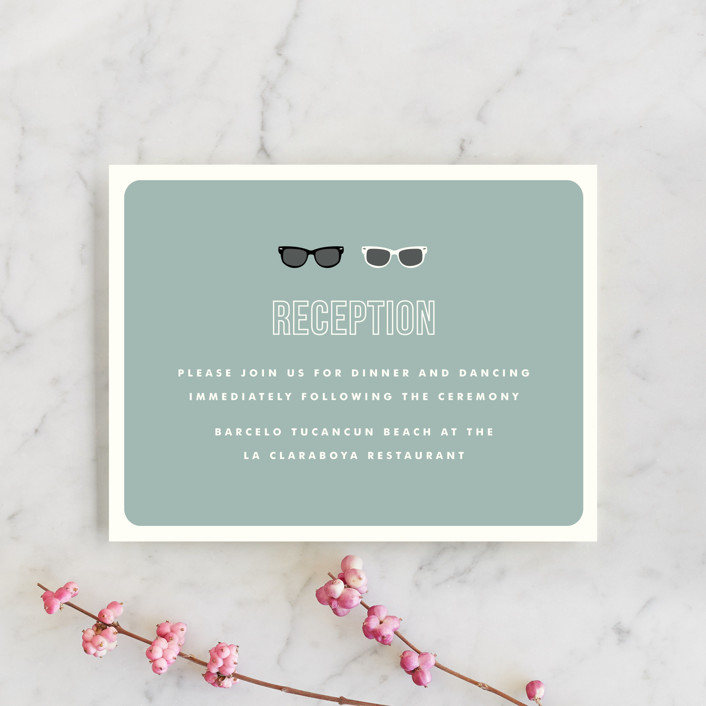 """Shades"" - Whimsical & Funny Reception Cards in Celadon by Olive and Violet."