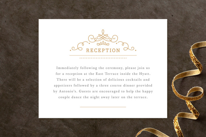 """Ornate Monogram"" - Monogrammed, Formal Reception Cards in Faux Gold by Kristen Smith."