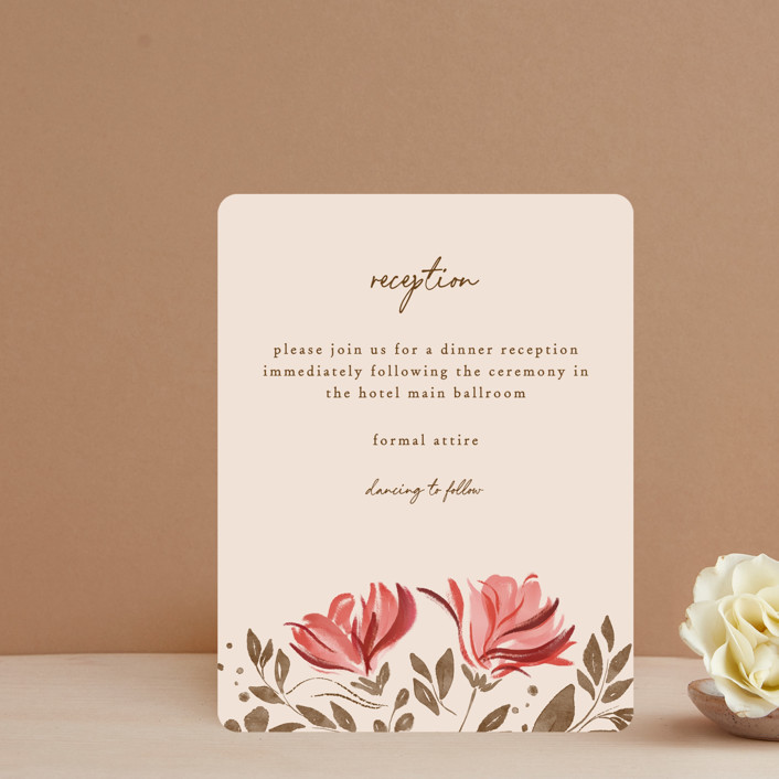 """""""Painterly Florals"""" - Reception Cards in Scarlet by Vivian Yiwing."""