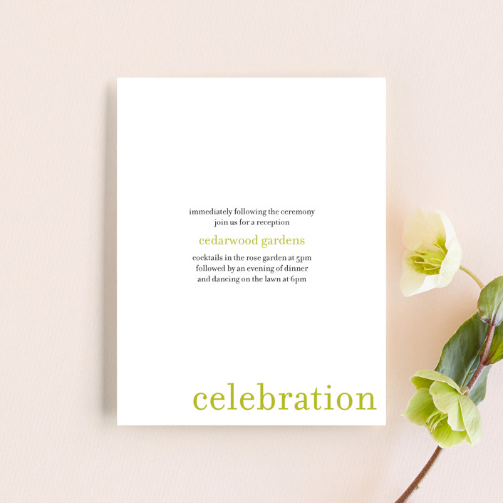 """float + celebrate"" - Modern Reception Cards in Celery by Float Paperie."
