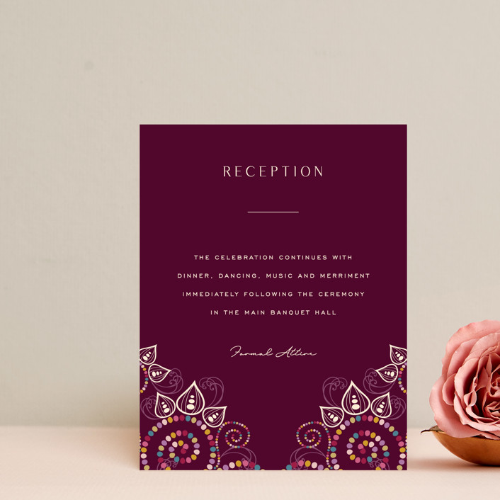 """""""Henna"""" - Reception Cards in Mixed Berry by fatfatin."""
