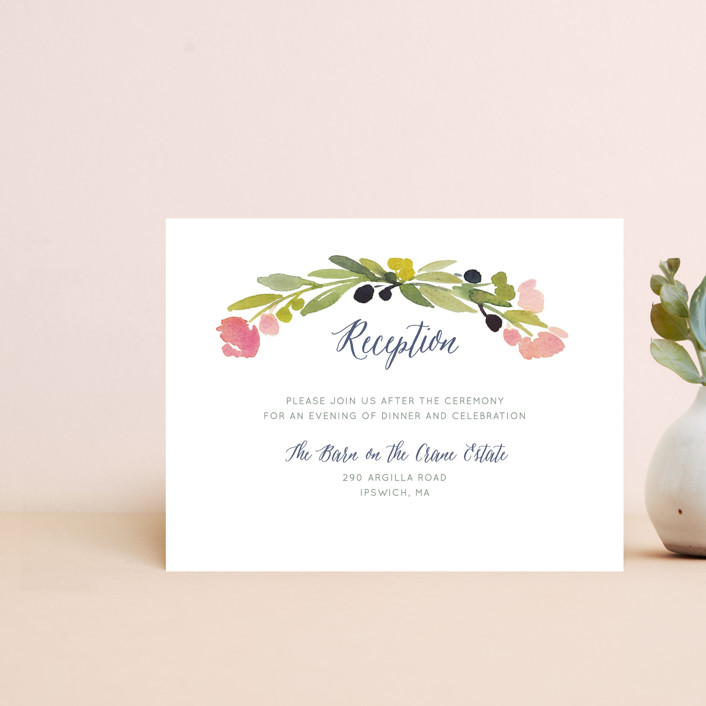 """""""Watercolor Wreath"""" - Reception Cards in Grapefruit by Yao Cheng Design."""