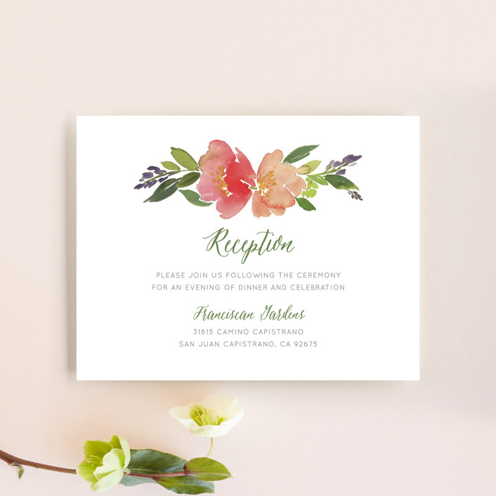 """Watercolor Floral"" - Reception Cards in Olive by Yao Cheng Design."