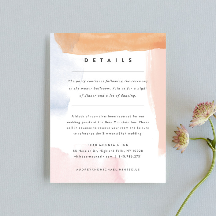 """Watercolor Wisp"" - Modern Reception Cards in Blush by Ariel Rutland."