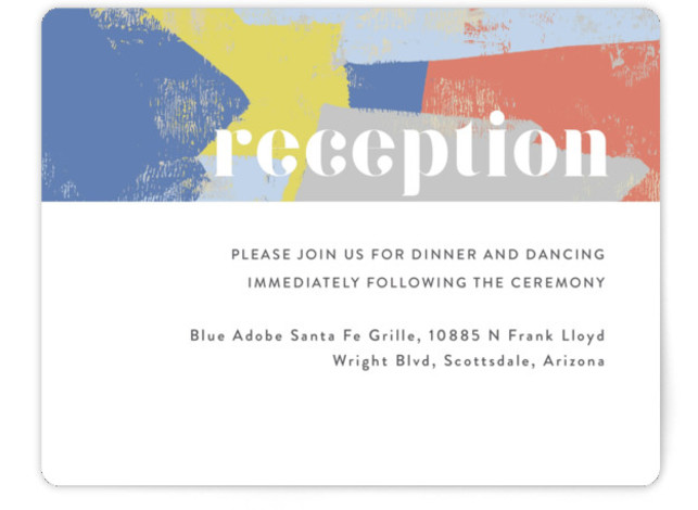 This is a bold and typographic, simple and minimalist, blue, colorful Reception Cards by Rebecca Daublin called Modern Muse with Standard printing on Signature in Card Flat Card format. Modern art inspired invitation with a colorful yet minimalist vibe sets ...