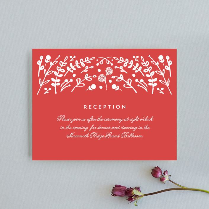 """Floral Frame Square"" - Reception Cards in Navy by Lori Wemple."