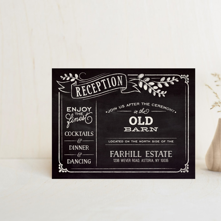 """Slated Forever"" - Bold typographic, Vintage Reception Cards in Chalkboard by GeekInk Design."