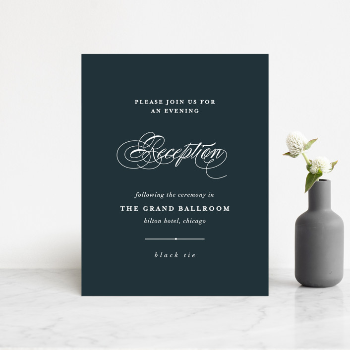 """Traditional"" - Reception Cards in Navy by lena barakat."