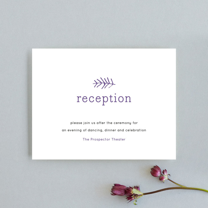 """Birds of a Feather"" - Whimsical & Funny Reception Cards in Plum by R studio."