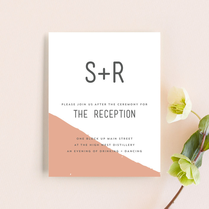 """Brush"" - Modern Reception Cards in Carnation by Half Pint Studio."