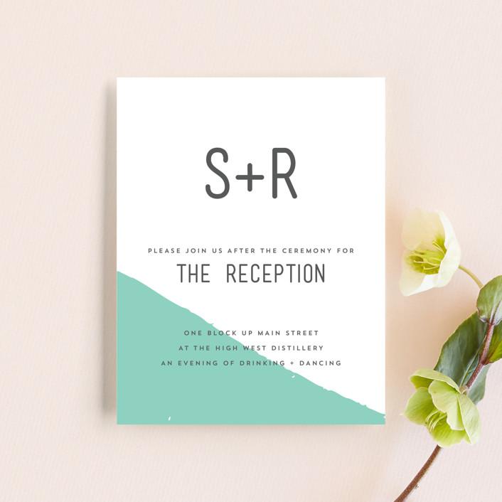 """Brush"" - Modern Reception Cards in Carnation by Half Pint Studio."
